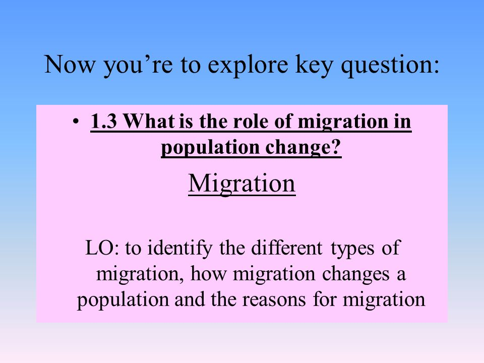 Now you're to explore key question: 1.3 What is the role of migration in population change.