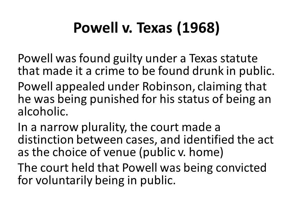 Compare Robinson with Powell California statute created crime of personal condition.