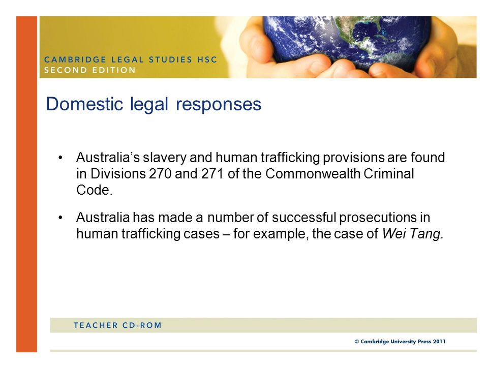 Australia's slavery and human trafficking provisions are found in Divisions 270 and 271 of the Commonwealth Criminal Code.