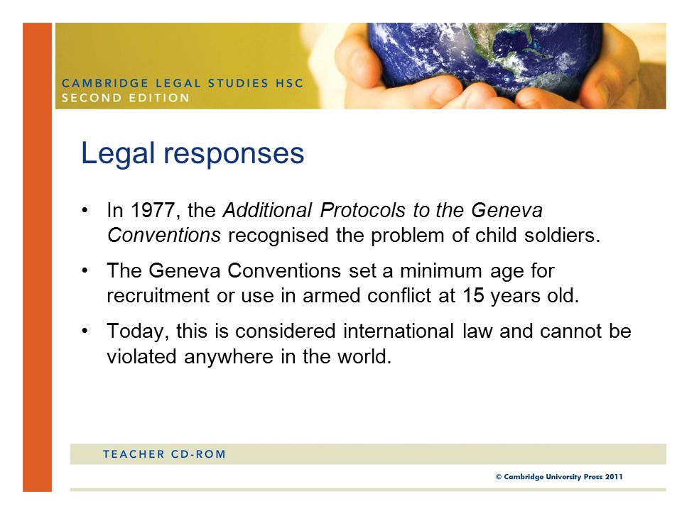 In 1977, the Additional Protocols to the Geneva Conventions recognised the problem of child soldiers.