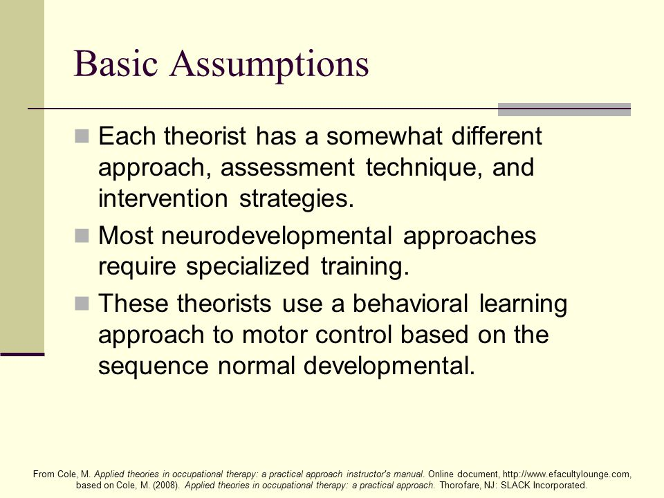 From Cole, M.Applied theories in occupational therapy: a practical approach instructor s manual.
