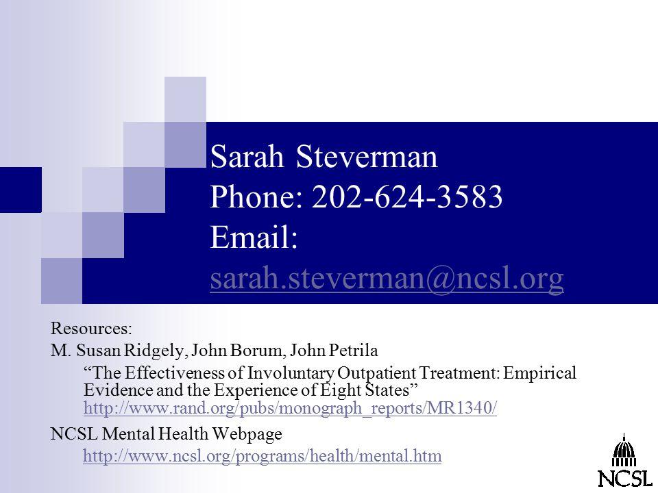 Sarah Steverman Phone: 202-624-3583 Email: sarah.steverman@ncsl.org sarah.steverman@ncsl.org Resources: M.