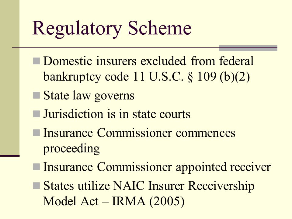 Regulatory Scheme Domestic insurers excluded from federal bankruptcy code 11 U.S.C.