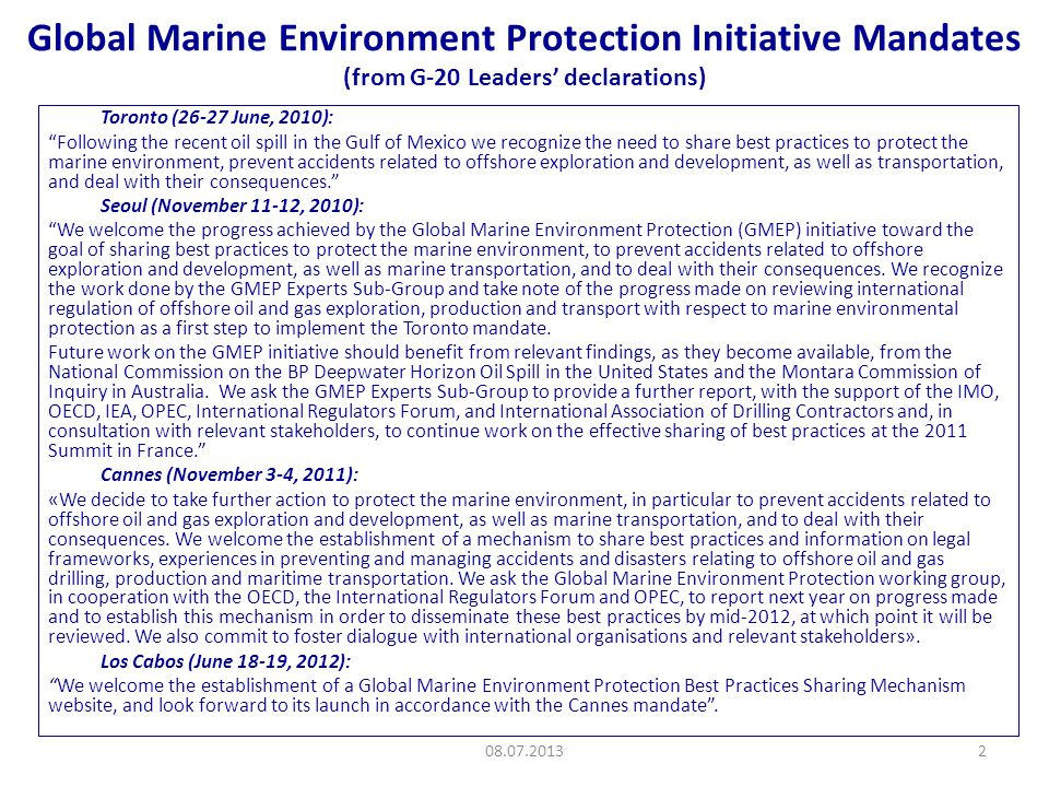 GMEP website as of now: information on 50 best practices from 8 countries 08.07.201313 15 on Accident Prevention 16 on Environmental Protection 14 on oil spill response 3 on Human Factors 2 on Marine Transportation 15 on Accident Prevention 16 on Environmental Protection 14 on oil spill response 3 on Human Factors 2 on Marine Transportation Relating to areas in: Accident prevention Environmental Protection Oil Spill Response Training & Personnel Factors Marine Transportation On this website, information can be searched by: Individual country, or by Best practice area, or by a General search function Relating to areas in: Accident prevention Environmental Protection Oil Spill Response Training & Personnel Factors Marine Transportation On this website, information can be searched by: Individual country, or by Best practice area, or by a General search function