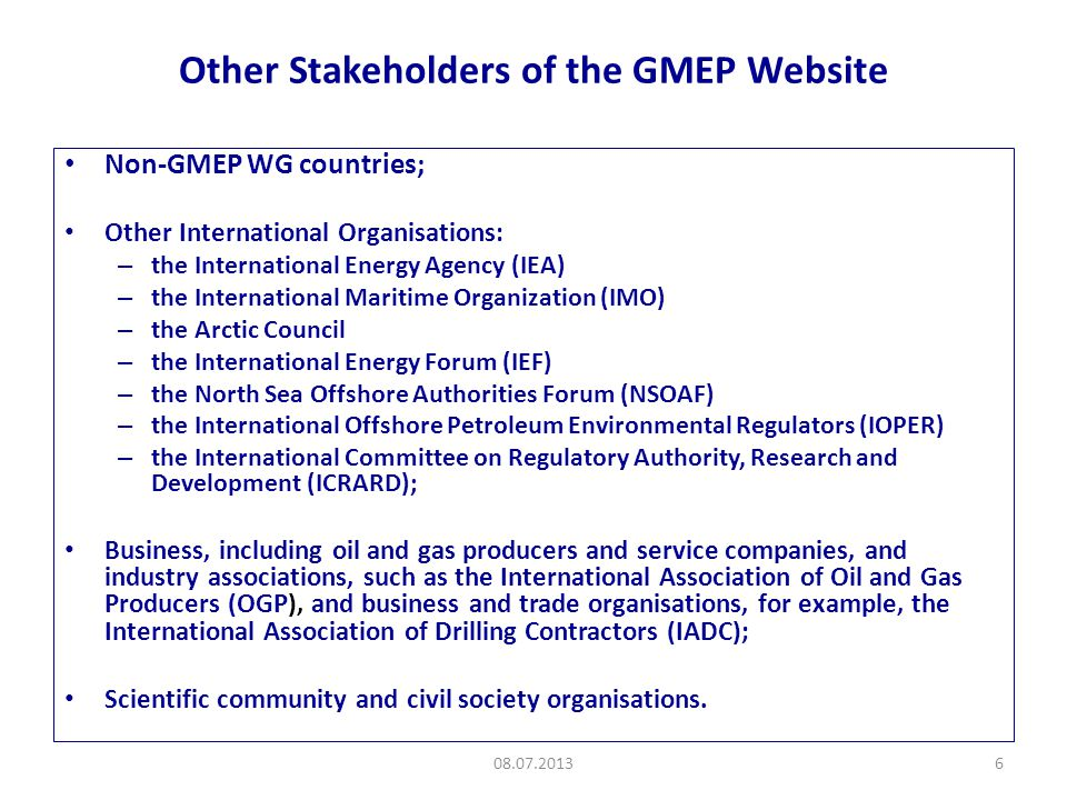 Content of the GMEP Website 08.07.20137