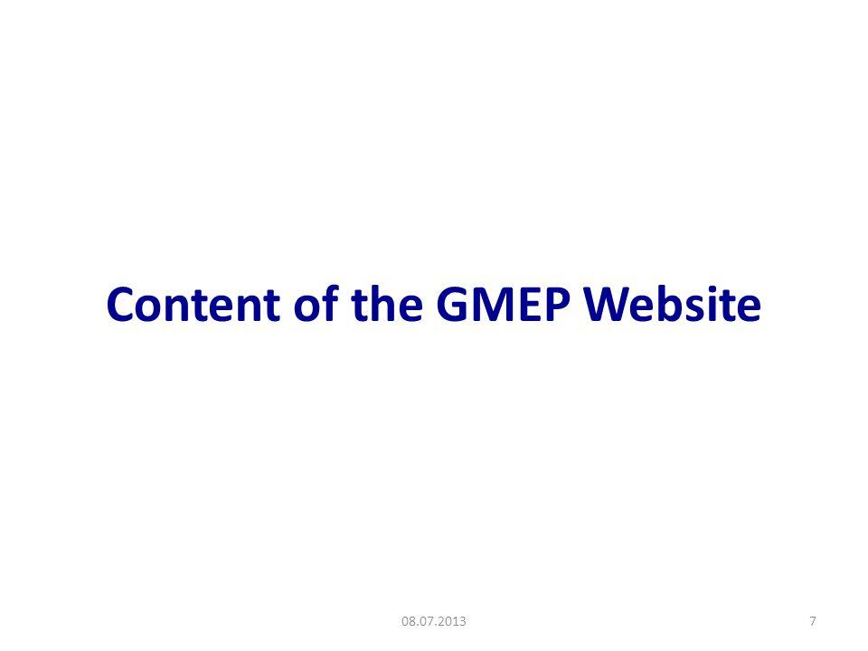Content of the GMEP Website 08.07.20137