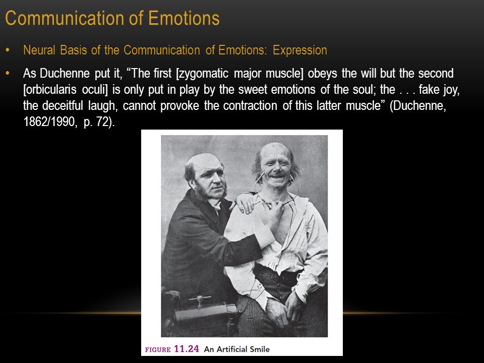 Communication of Emotions 23 Neural Basis of the Communication of Emotions: Expression As Duchenne put it, The first [zygomatic major muscle] obeys the will but the second [orbicularis oculi] is only put in play by the sweet emotions of the soul; the...