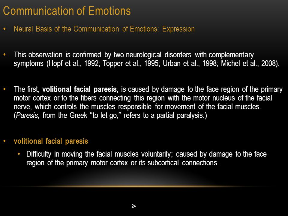 Communication of Emotions 24 Neural Basis of the Communication of Emotions: Expression This observation is confirmed by two neurological disorders with complementary symptoms (Hopf et al., 1992; Topper et al., 1995; Urban et al., 1998; Michel et al., 2008).