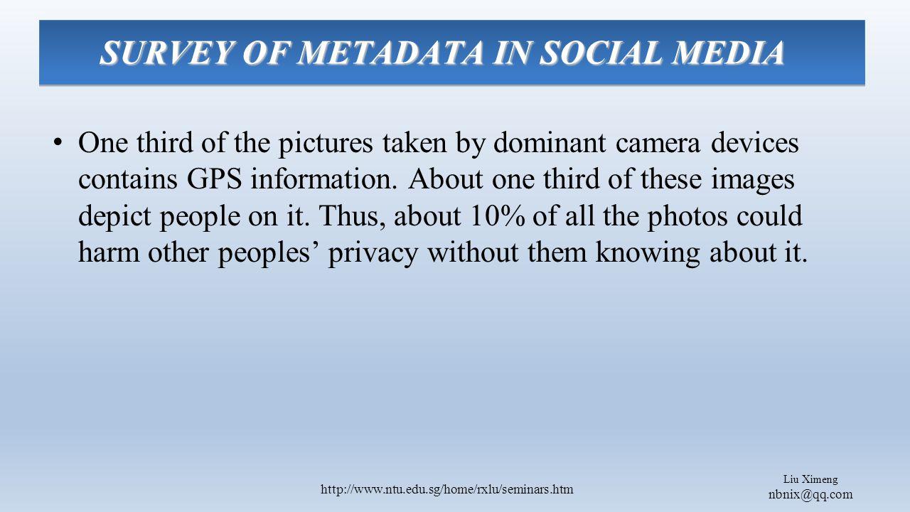 Liu Ximeng nbnix@qq.com http://www.ntu.edu.sg/home/rxlu/seminars.htm One third of the pictures taken by dominant camera devices contains GPS information.