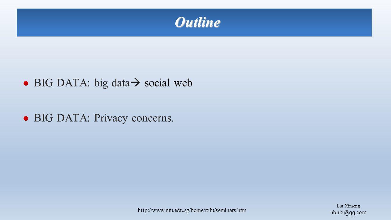 Liu Ximeng nbnix@qq.com http://www.ntu.edu.sg/home/rxlu/seminars.htm BIG DATA: big data  social web BIG DATA: Privacy concerns.