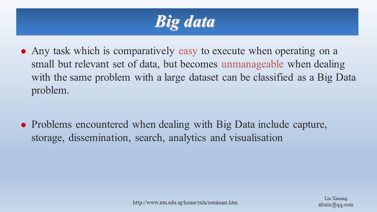 Liu Ximeng nbnix@qq.com http://www.ntu.edu.sg/home/rxlu/seminars.htm Awareness of Damaging Media in Big Datasets Direct linking of profiles to pictures-- finding information about people.