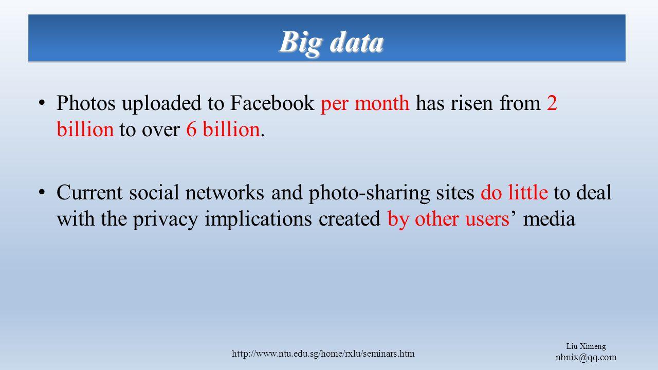 Liu Ximeng nbnix@qq.com http://www.ntu.edu.sg/home/rxlu/seminars.htm Photos uploaded to Facebook per month has risen from 2 billion to over 6 billion.