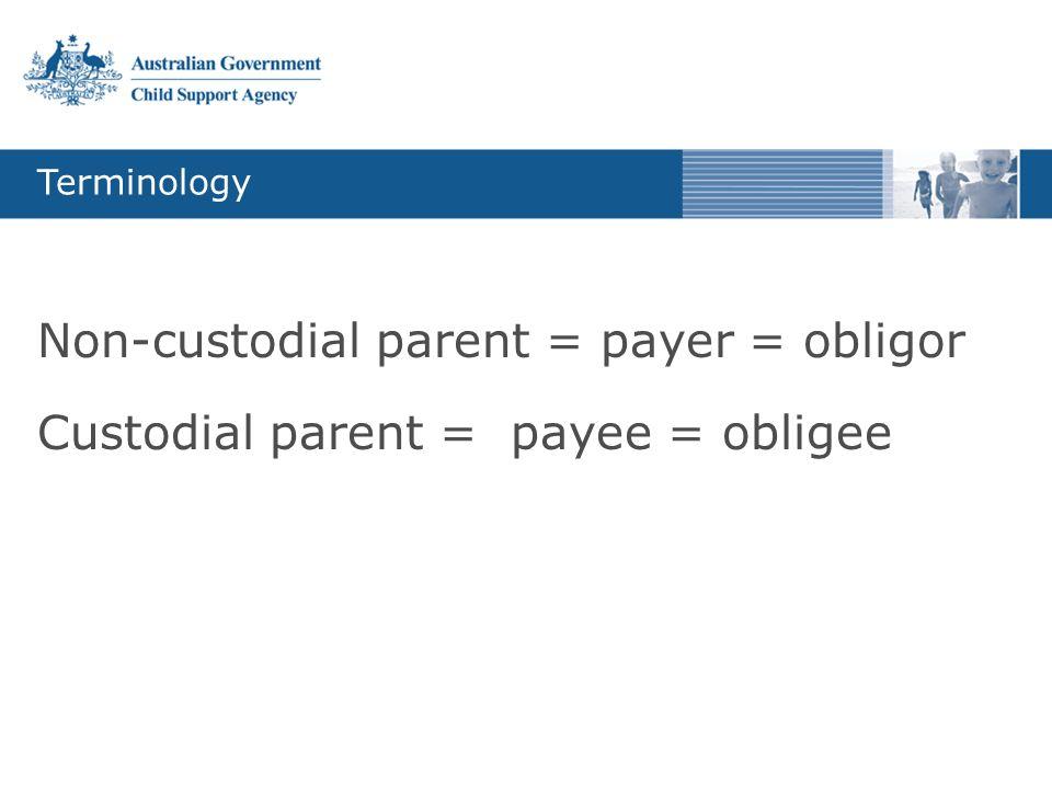 Terminology Non-custodial parent = payer = obligor Custodial parent = payee = obligee