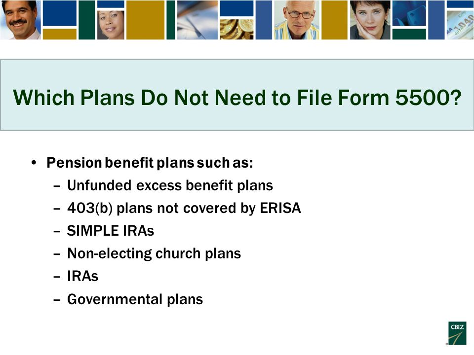 Which Plans Do Not Need to File Form 5500.