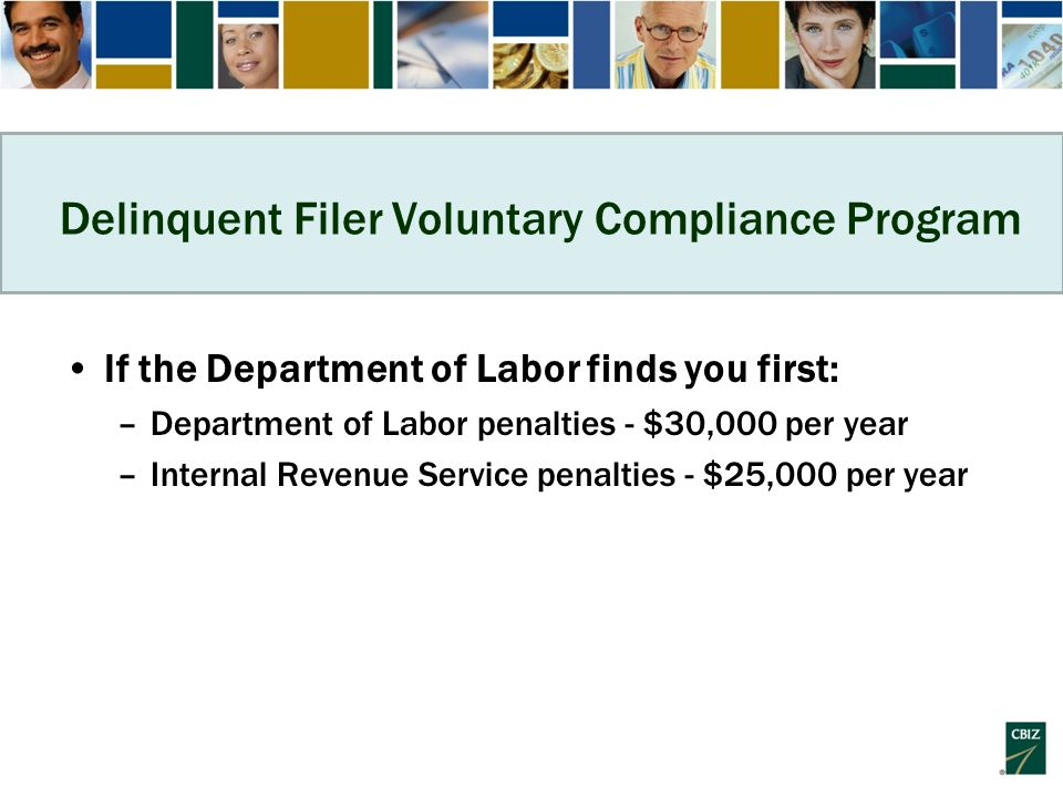 Delinquent Filer Voluntary Compliance Program If the Department of Labor finds you first: –Department of Labor penalties - $30,000 per year –Internal Revenue Service penalties - $25,000 per year