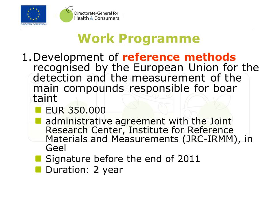 Work Programme 2.Study on consumer acceptance in the European Union and in third countries of pig meat obtained from male pigs not surgically castrated EUR 250.000 open call for tender Indicative date for publishing: March 2012 duration: 24 months