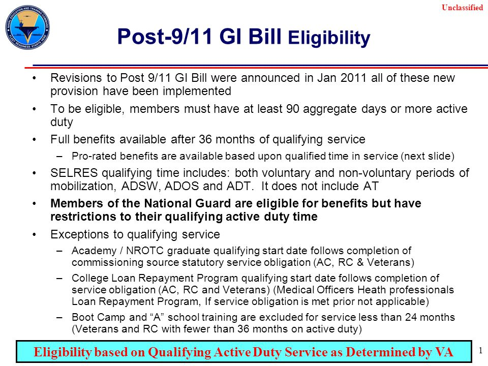 Unclassified 1 Post-9/11 GI Bill Eligibility Revisions to Post 9/11 GI Bill were announced in Jan 2011 all of these new provision have been implemented To be eligible, members must have at least 90 aggregate days or more active duty Full benefits available after 36 months of qualifying service –Pro-rated benefits are available based upon qualified time in service (next slide) SELRES qualifying time includes: both voluntary and non-voluntary periods of mobilization, ADSW, ADOS and ADT.