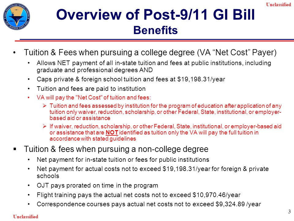 Unclassified 3 Overview of Post-9/11 GI Bill Benefits Tuition & Fees when pursuing a college degree (VA Net Cost Payer) Allows NET payment of all in-state tuition and fees at public institutions, including graduate and professional degrees AND Caps private & foreign school tuition and fees at $19,198.31/year Tuition and fees are paid to institution VA will pay the Net Cost of tuition and fees:  Tuition and fees assessed by institution for the program of education after application of any tuition only waiver, reduction, scholarship, or other Federal, State, institutional, or employer- based aid or assistance  If waiver, reduction, scholarship, or other Federal, State, institutional, or employer-based aid or assistance that are NOT identified as tuition only the VA will pay the full tuition in accordance with stated guidelines  Tuition & fees when pursuing a non-college degree Net payment for in-state tuition or fees for public institutions Net payment for actual costs not to exceed $19,198.31/year for foreign & private schools OJT pays prorated on time in the program Flight training pays the actual net costs not to exceed $10,970.46/year Correspondence courses pays actual net costs not to exceed $9,324.89 /year
