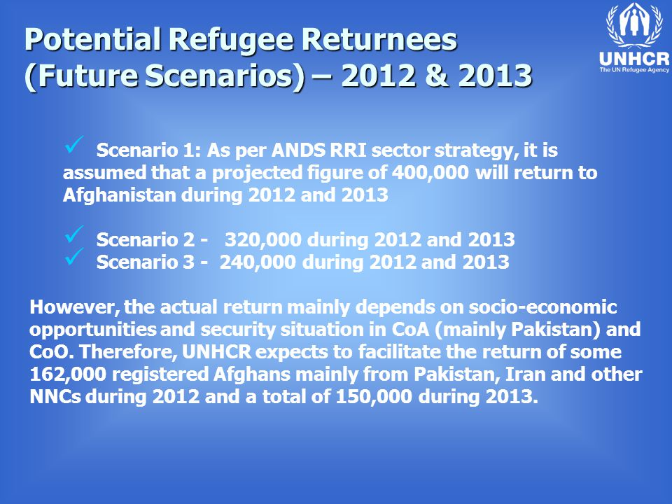 Potential Refugee Returnees (Future Scenarios) – 2012 & 2013 Scenario 1: As per ANDS RRI sector strategy, it is assumed that a projected figure of 400,000 will return to Afghanistan during 2012 and 2013 Scenario 2 - 320,000 during 2012 and 2013 Scenario 3 - 240,000 during 2012 and 2013 However, the actual return mainly depends on socio-economic opportunities and security situation in CoA (mainly Pakistan) and CoO.