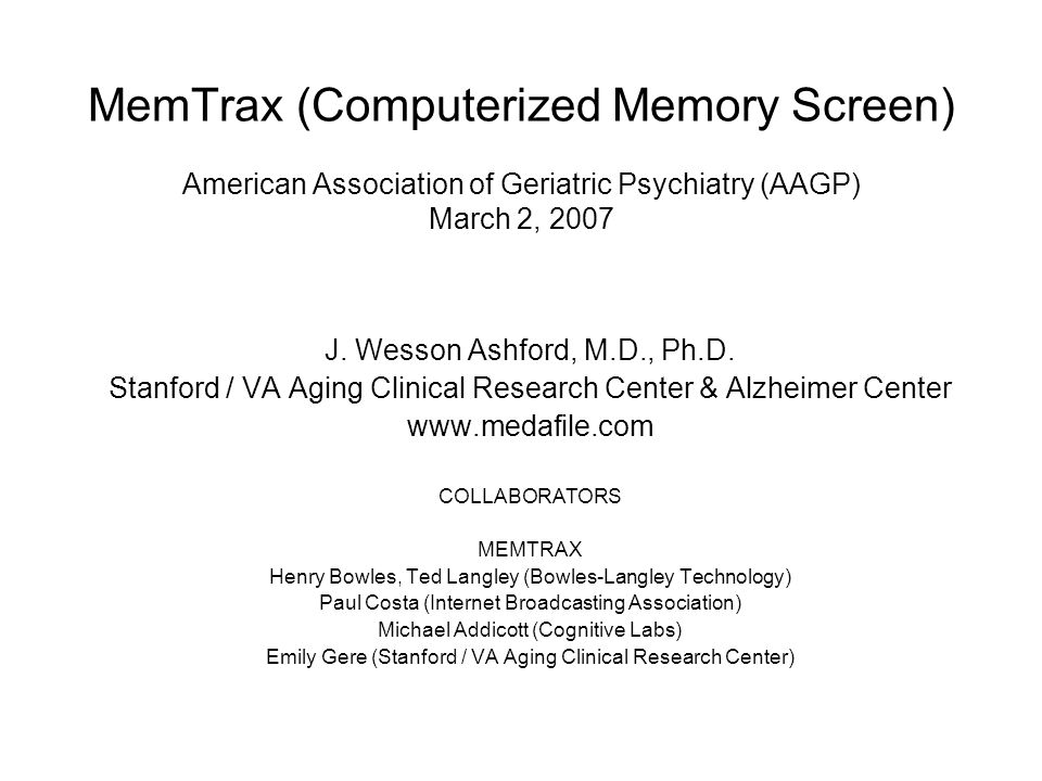 CONCLUSIONS on MEMTRAX A short, computerized test provides a measure of cognitive function, including memory and attention, on a robust continuum, establishing a baseline of cognitive function and potentially predicting the presence of dementia –Computerized version – 2-3 minutes, fun game, provides reaction time measure –Paper&Pencil, with PowerPoint slide show, can be given to a large audience Testing for reliability and validity are Classical Test Theory concepts –Modern Test Theory examines performance across individual items on a continuum (varied by first repeat vs second repeat, number of slides between first show and first repeat, etc.