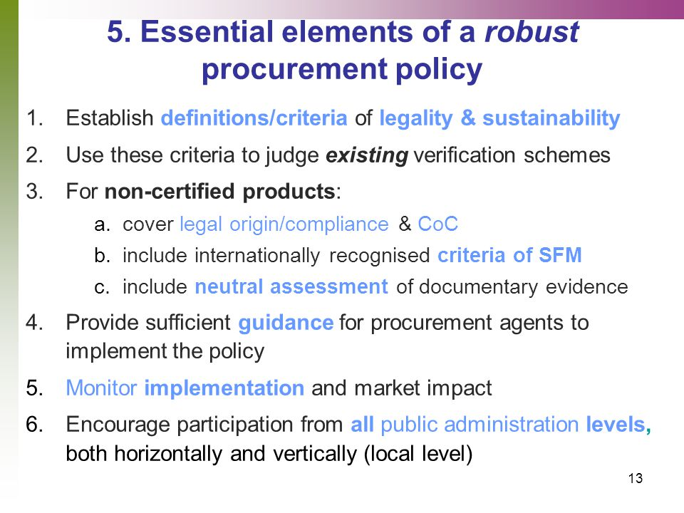 14 6.Elements of robustness in the compared policies' design 1.