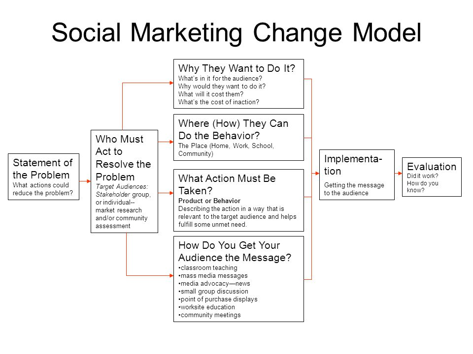 Social Marketing Change Model Statement of the Problem What actions could reduce the problem.