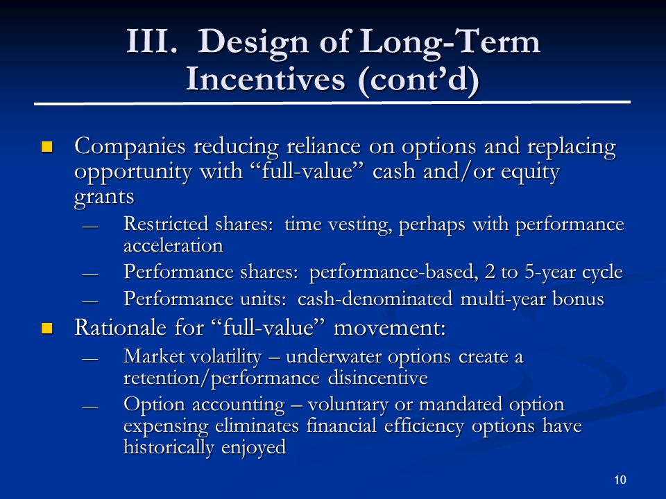 "10 III. Design of Long-Term Incentives (cont'd) Companies reducing reliance on options and replacing opportunity with ""full-value"" cash and/or equity"