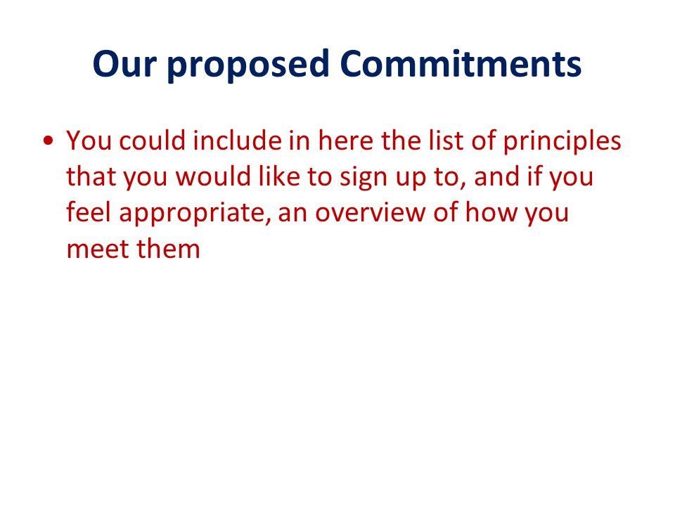Our proposed Commitments You could include in here the list of principles that you would like to sign up to, and if you feel appropriate, an overview