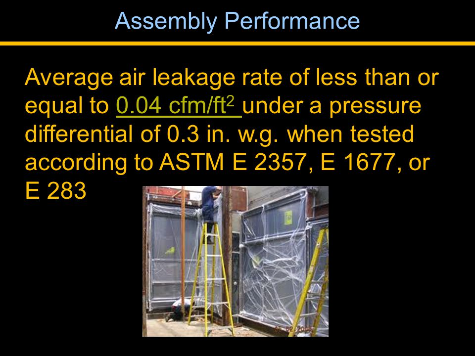 Average air leakage rate of less than or equal to 0.04 cfm/ft 2 under a pressure differential of 0.3 in.