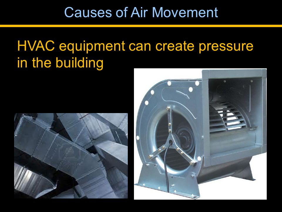 HVAC equipment can create pressure in the building Causes of Air Movement