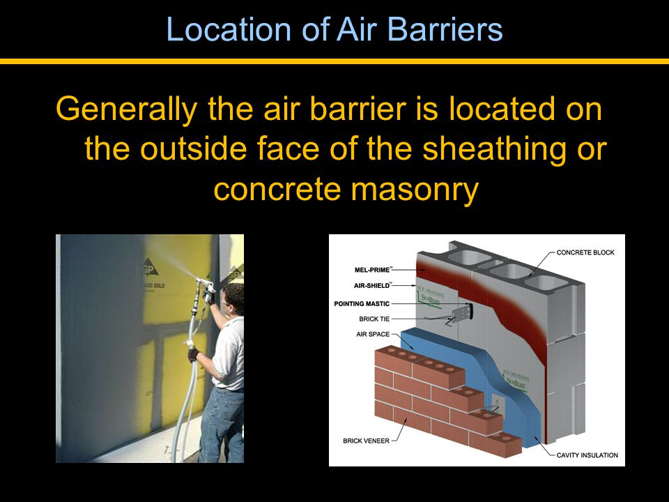Generally the air barrier is located on the outside face of the sheathing or concrete masonry Location of Air Barriers
