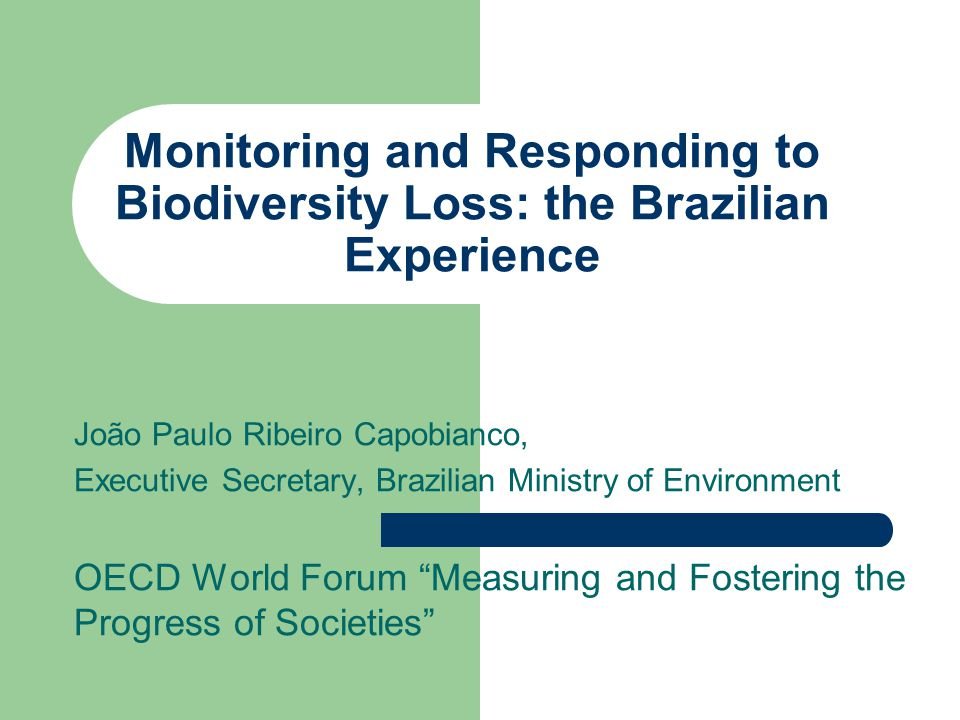 Monitoring and Responding to Biodiversity Loss: the Brazilian Experience João Paulo Ribeiro Capobianco, Executive Secretary, Brazilian Ministry of Environment OECD World Forum Measuring and Fostering the Progress of Societies