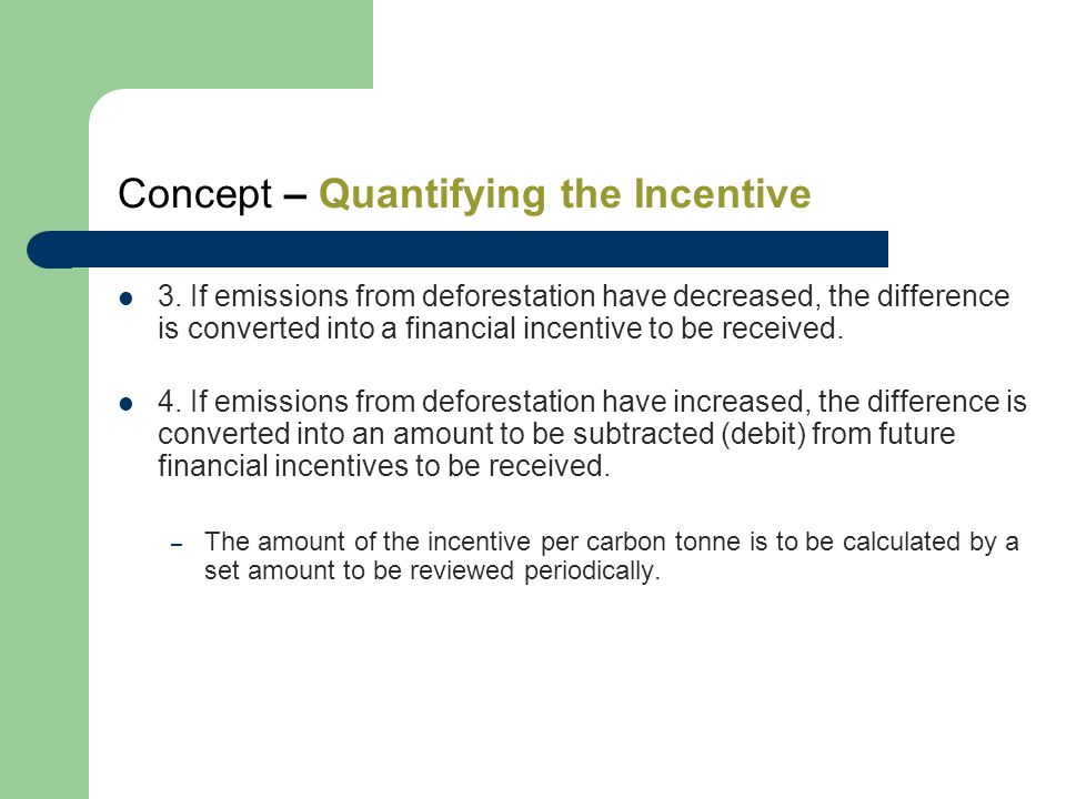 Concept – Quantifying the Incentive 3.