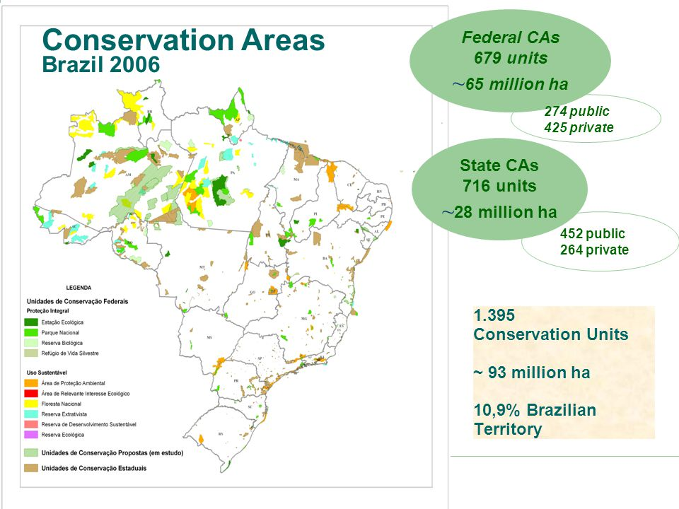 Biodiversity: Protected Areas Apart from the SNUC, Brazil has reserved over 110 million hectares as Indigenous Lands, which also play a key role as protected areas for biodiversity.