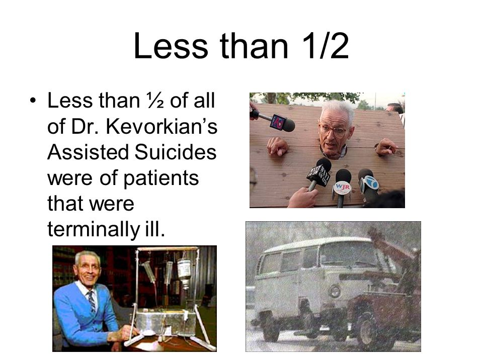 Less than 1/2 Less than ½ of all of Dr. Kevorkian's Assisted Suicides were of patients that were terminally ill.