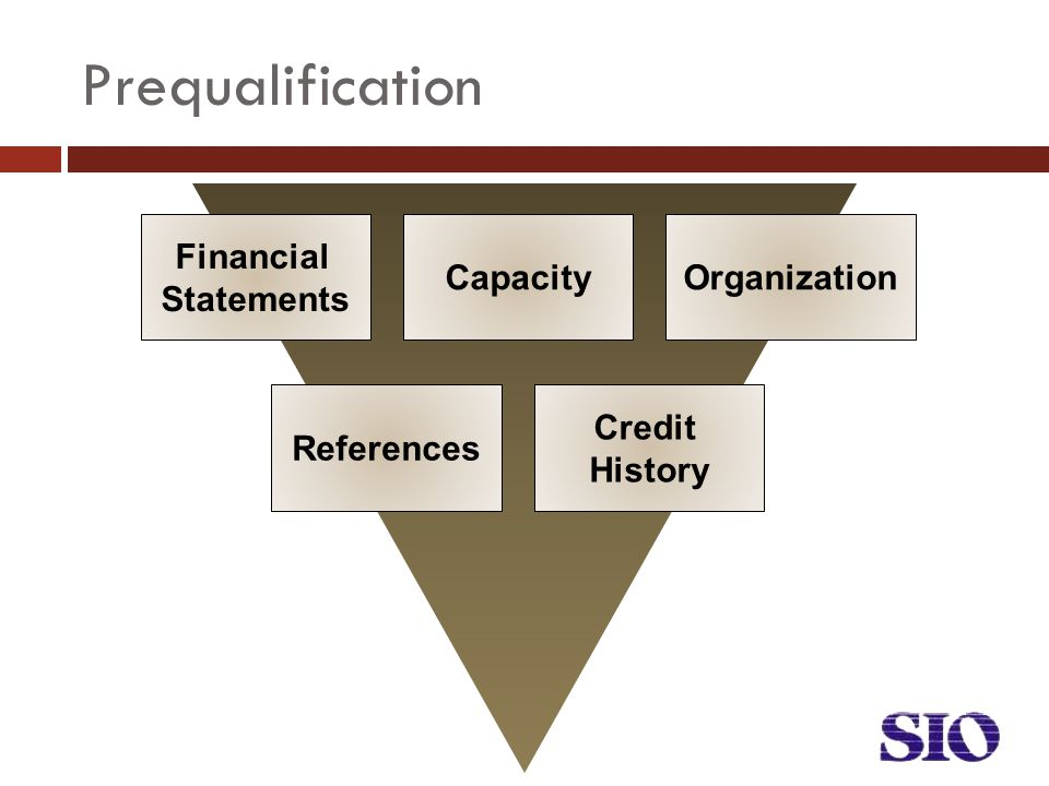 Financial Statements CapacityOrganization References Credit History Prequalification