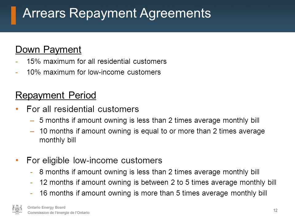 12 Arrears Repayment Agreements Down Payment -15% maximum for all residential customers -10% maximum for low-income customers Repayment Period For all residential customers –5 months if amount owning is less than 2 times average monthly bill –10 months if amount owning is equal to or more than 2 times average monthly bill For eligible low-income customers -8 months if amount owning is less than 2 times average monthly bill -12 months if amount owning is between 2 to 5 times average monthly bill -16 months if amount owning is more than 5 times average monthly bill