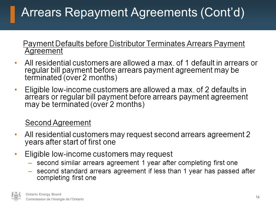 14 Arrears Repayment Agreements (Cont'd) Payment Defaults before Distributor Terminates Arrears Payment Agreement All residential customers are allowed a max.