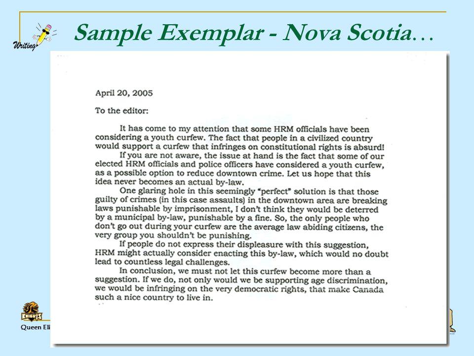 Queen Elizabeth High ELA Sample Exemplar - Nova Scotia…