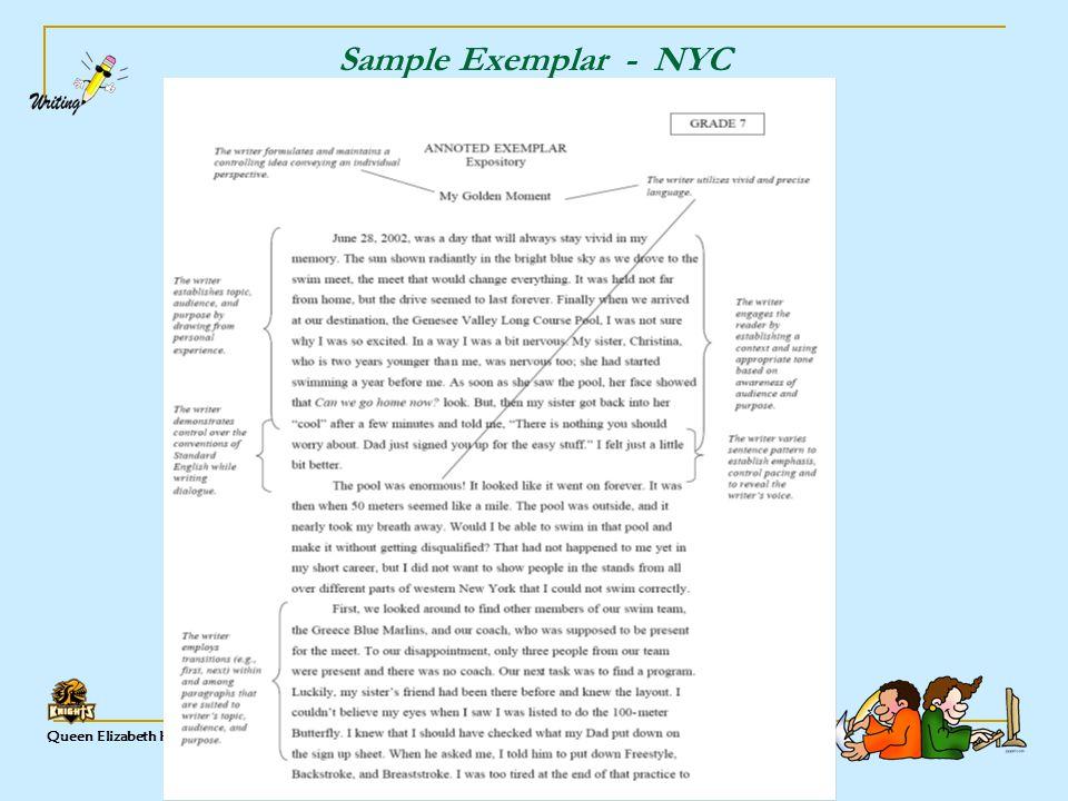 Queen Elizabeth High ELA Sample Exemplar - NYC