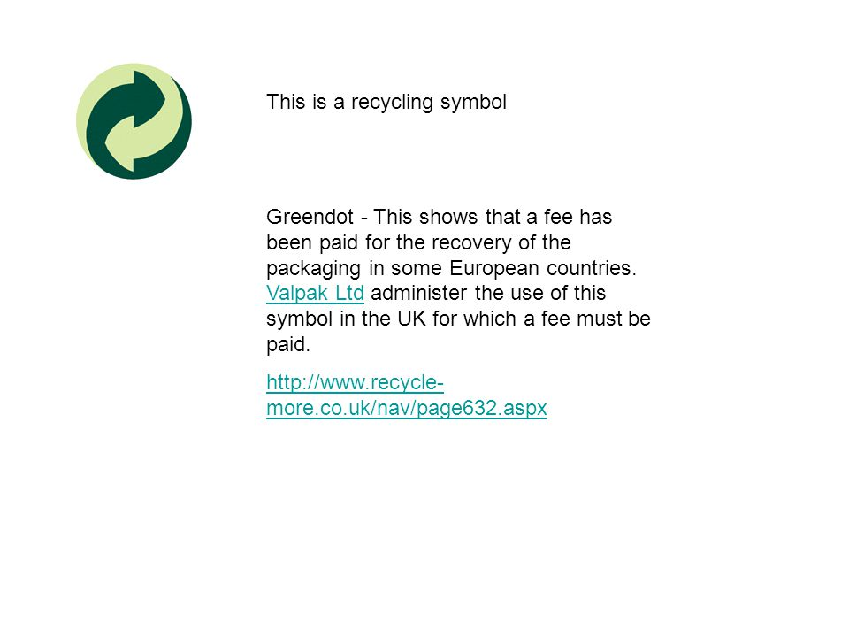 This is a recycling symbol Greendot - This shows that a fee has been paid for the recovery of the packaging in some European countries. Valpak Ltd adm