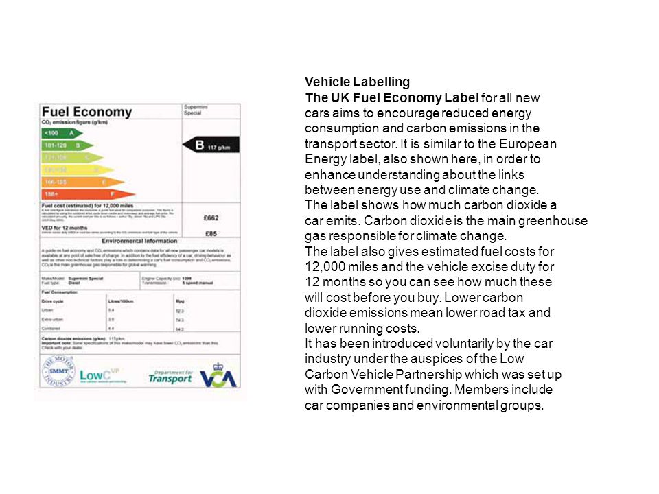 Vehicle Labelling The UK Fuel Economy Label for all new cars aims to encourage reduced energy consumption and carbon emissions in the transport sector.