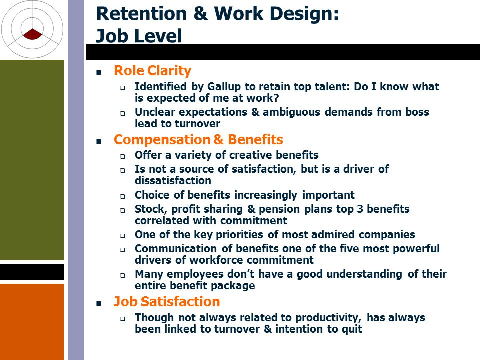 Retention & Work Design: Job Level Role Clarity  Identified by Gallup to retain top talent: Do I know what is expected of me at work.