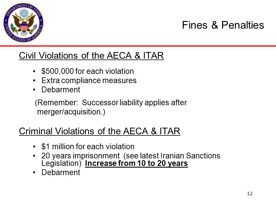 Civil Violations of the AECA & ITAR $500,000 for each violation Extra compliance measures Debarment (Remember: Successor liability applies after merger/acquisition.) Criminal Violations of the AECA & ITAR $1 million for each violation 20 years imprisonment (see latest Iranian Sanctions Legislation) Increase from 10 to 20 years Debarment Fines & Penalties 12