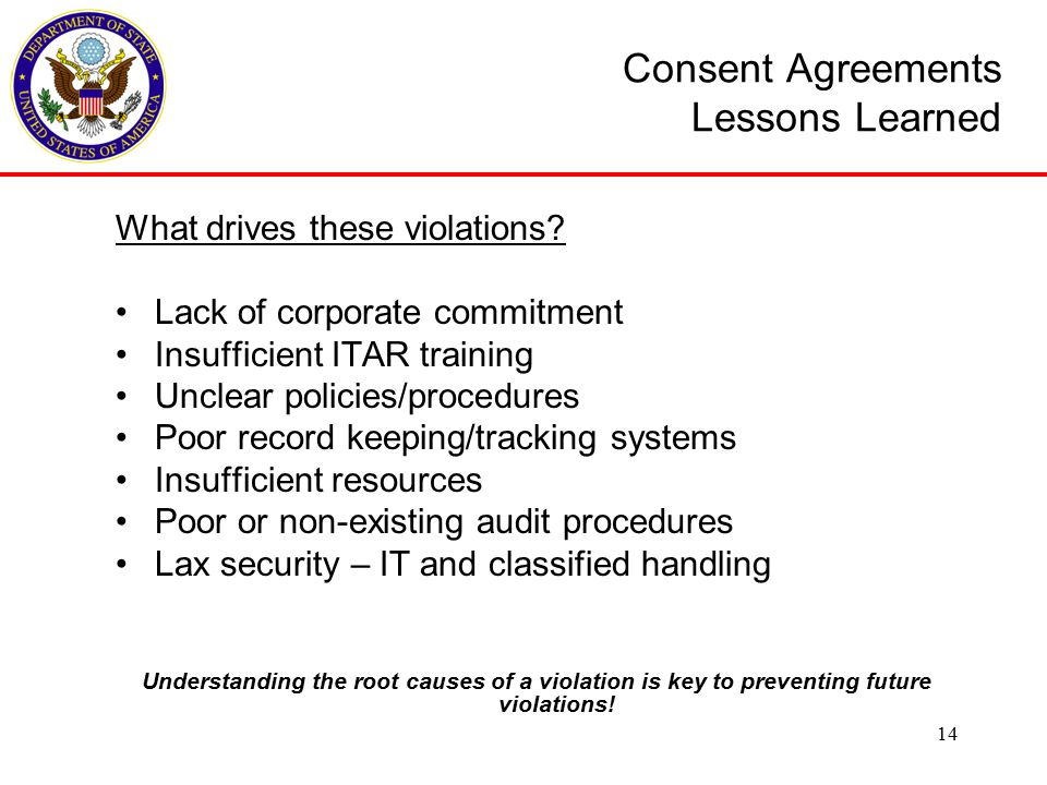 Consent Agreements Lessons Learned What drives these violations.