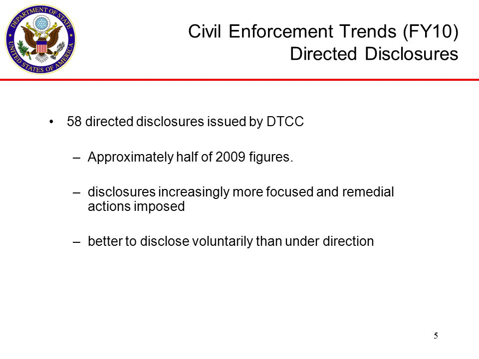 Civil Enforcement Trends (FY10) Disclosure Violations Nature or pattern of violations appears not to have changed from previous years: –unauthorized export of hardware, data or services –exceeding scope of license approval –foreign person employment (you and your sub- contractors) –improper use of exemptions –exceeding dollar value of agreements (TAAs and MLAs) –violating provisos and other conditions of approval –misclassification of hardware/technical data 6