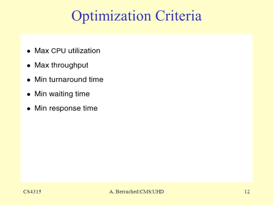 CS4315A. Berrached:CMS:UHD12 Optimization Criteria