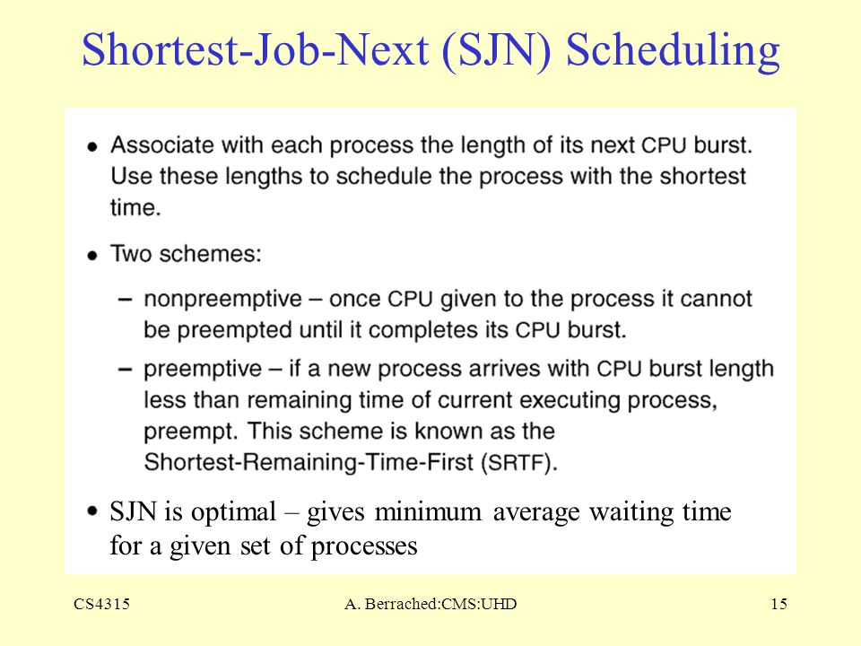CS4315A. Berrached:CMS:UHD15 Shortest-Job-Next (SJN) Scheduling SJN is optimal – gives minimum average waiting time for a given set of processes