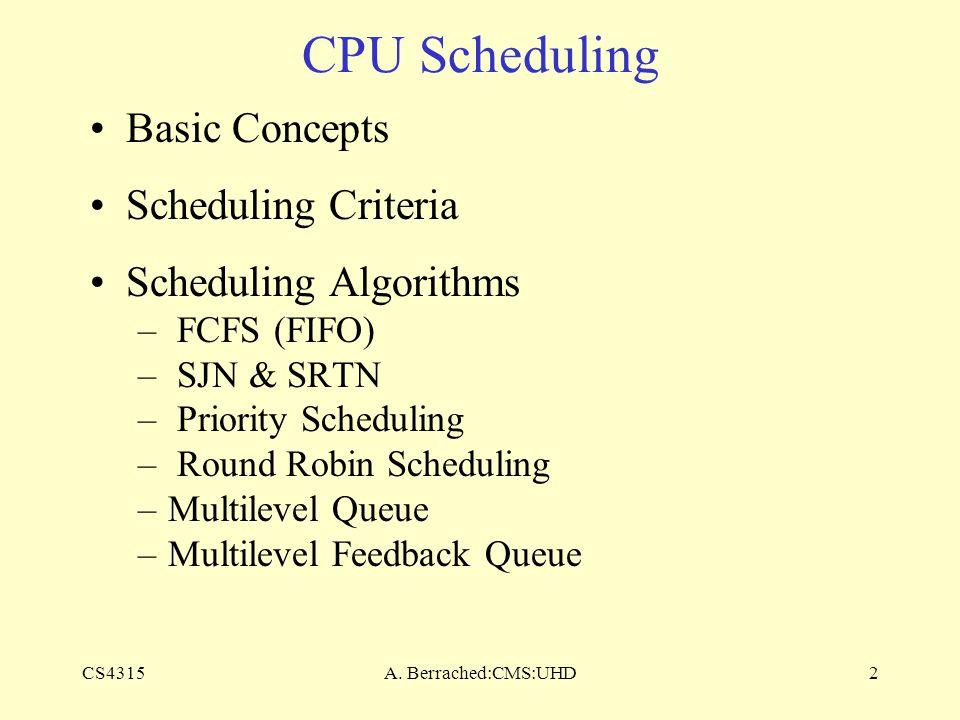 CS4315A. Berrached:CMS:UHD2 CPU Scheduling Basic Concepts Scheduling Criteria Scheduling Algorithms – FCFS (FIFO) – SJN & SRTN – Priority Scheduling –