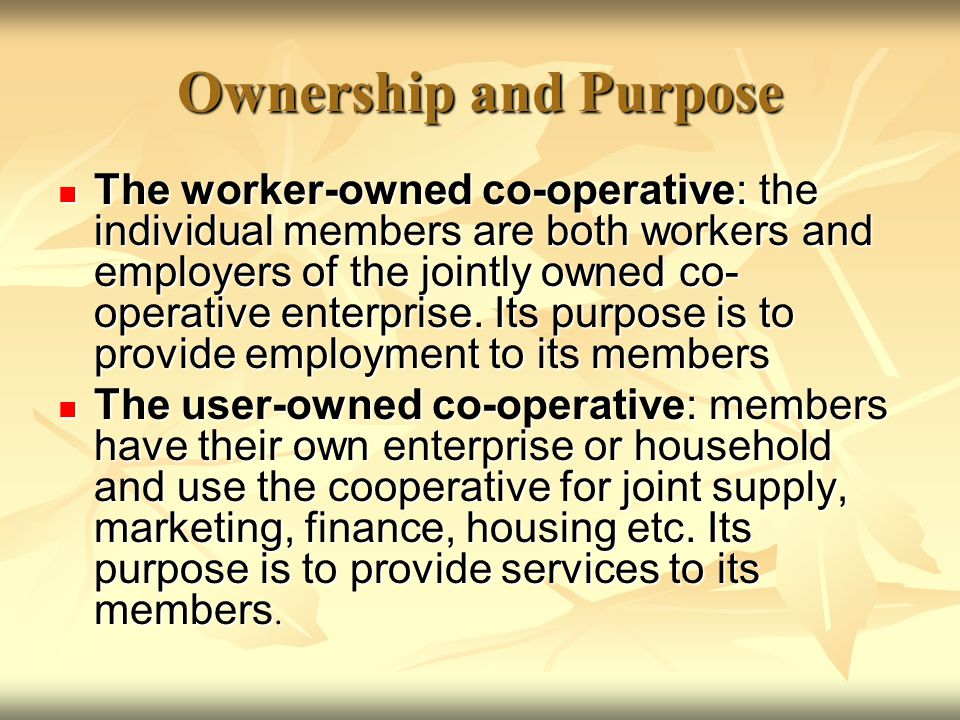 Ownership and Purpose The worker-owned co-operative: the individual members are both workers and employers of the jointly owned co- operative enterprise.